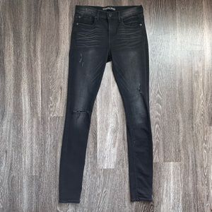 Express Black Distressed Supersoft Jeans